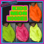 KIDS NEON FLUORESCENT CHILDS HOODIE PLAIN SCHOOL DANCE